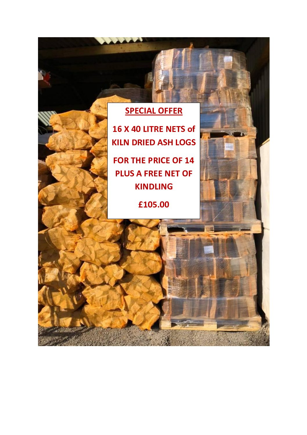 KILN DRIED ASH LOG NETS – SPECIAL OFFER