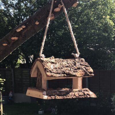 Unique Rustic Oak Bird House Feeder