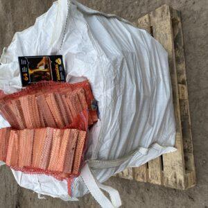 Builders bag Kiln Dried Silver Birch & 2 Nets kindling & Samba Firelighters